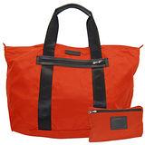 COACH深橘尼龍攜帶式手提/肩背購物袋
