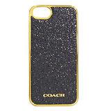 COACH黑色亮粉金邊iPhone5手機保護殼