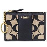 COACH黃卡黑色C Logo真皮飾邊卡夾鑰匙零錢包
