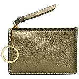 COACH青銅色亮霧面漆皮卡夾鑰匙零錢包