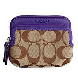 COACH卡其C Logo深紫防刮皮革邊雙層卡夾零錢包