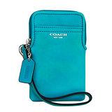 COACH LEGACY亮藍綠全皮掛式卡夾手機包