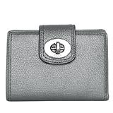 COACH 新款銀灰色荔枝紋漆皮金屬旋釦雙摺中夾