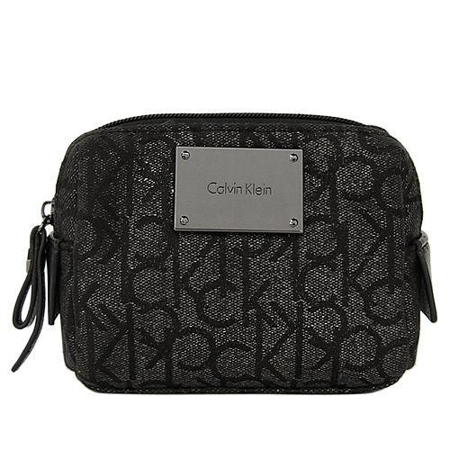 Calvin Klein新款珠光黑色CK Logo輕巧化妝包