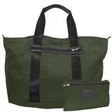 COACH墨綠色尼龍攜帶式手提/肩背購物袋