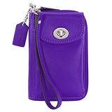 COACH LEGACY亮紫全皮多功雙層掛式中夾手機包