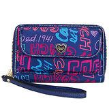 COACH POPPY深藍愛心飾牌彩繪文字掛式中夾手機包