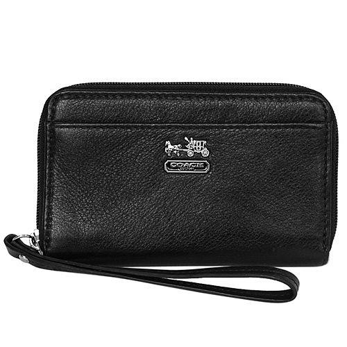 COACH馬車新款黑色荔枝紋全皮掛式卡夾手機包