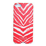 COACH新款紅色斑馬紋 iPhone5手機保護殼