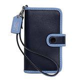 COACH深淺藍色全皮拼接雙摺掛式卡夾手機套