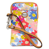 COACH彩色小碎花PVC掛式卡夾手機包