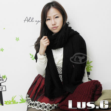 【Lus.G】時尚抓破針織素色圍巾