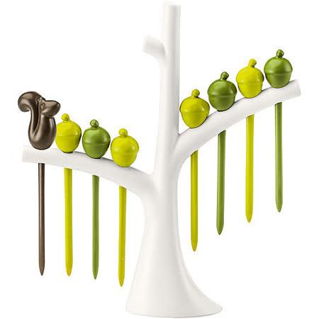 《KOZIOL》樹梢松鼠短叉(白棕綠8入)