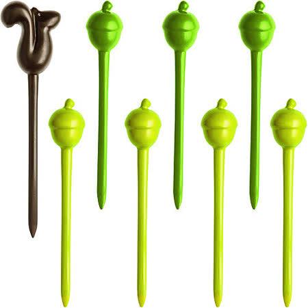 《KOZIOL》松果短叉(棕綠8入)