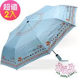 【三隻小熊】大傘面松鼠銀膠抗UV自動開收傘(2入不同款)-水藍