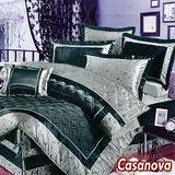 《casanova-星辰月》雙人緞面八件式兩用被鋪棉床罩組