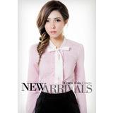 《Theme》梭織長袖襯衫-淺粉紅(品特)