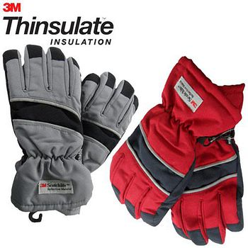 3M Thinsulate 保暖防水反光手套(適用女性/青少年) 紅/藍+灰黑
