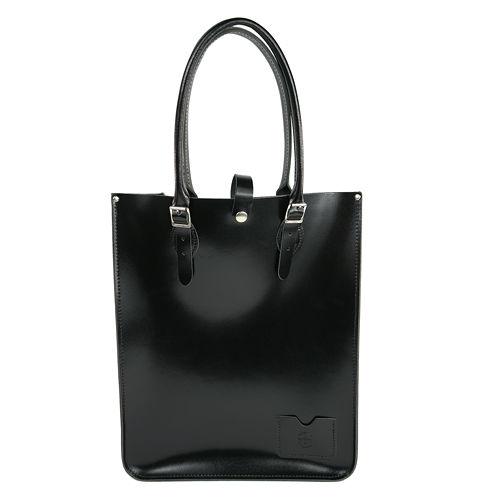 【The Leather Satchel Co.】英國原裝手工牛皮托特包 手提包 肩背包 壓釦設計 手把可調整長度 精湛工藝 (搖滾黑)