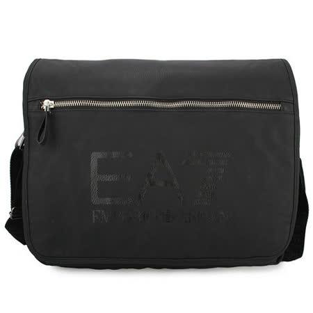 EMPORIO ARMANI EA7 鱷纹燙印LOGO休閒尼龍側背包-黑色