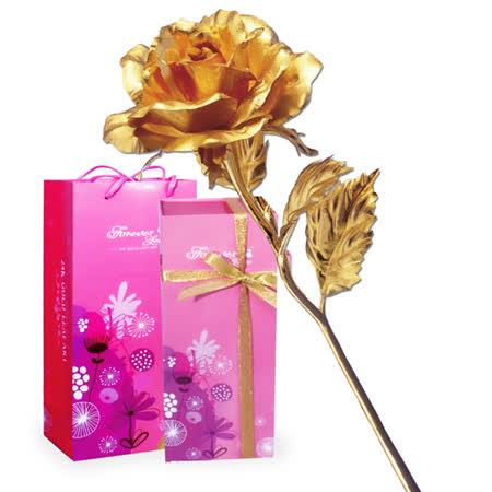 鹿港窯-立體金箔花-典藏黃金玫瑰花(精緻禮盒)