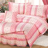 台灣製【典雅碎花-粉】雙人六件式天絲絨鋪棉兩用被床罩組