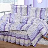 台灣製【典雅碎花-藍】雙人六件式天絲絨鋪棉兩用被床罩組