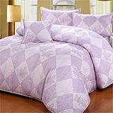 台灣製【楓葉裊裊-紫】雙人六件式天絲絨鋪棉兩用被床罩組