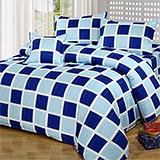台灣製【西洋棋盤-藍】雙人六件式天絲絨鋪棉兩用被床罩組