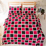 台灣製【西洋棋盤-紅】雙人六件式天絲絨鋪棉兩用被床罩組