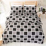 台灣製【西洋棋盤-灰】雙人六件式天絲絨鋪棉兩用被床罩組