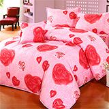 台灣製【浪漫玫瑰-紅】雙人六件式天絲絨鋪棉兩用被床罩組