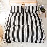 台灣製【弦樂音譜-黑】雙人六件式天絲絨鋪棉兩用被床罩組