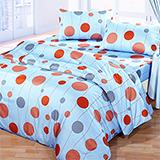 台灣製【迷幻泡沫-藍】雙人六件式天絲絨鋪棉兩用被床罩組