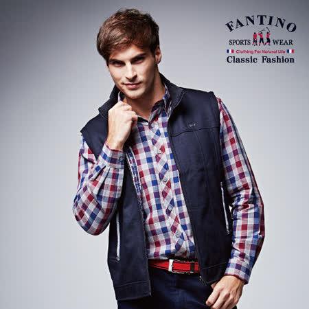 【FANTINO】男裝 禦寒羊毛保暖毛絨雙面穿背心(黑)446302