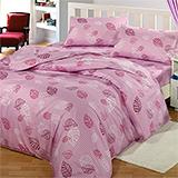 台灣製【飄飄葉語-紫】雙人六件式天絲絨鋪棉兩用被床罩組