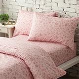 台灣製【花香飄逸-粉】雙人六件式天絲絨鋪棉兩用被床罩組