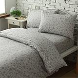 台灣製【花香飄逸-灰】雙人六件式天絲絨鋪棉兩用被床罩組