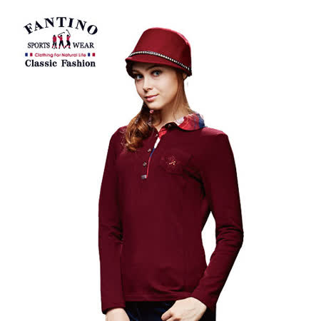 【FANTINO】女款 拼接格紋領POLO衫 (紅) 481102