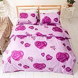 台灣製【浪漫玫瑰-紫】雙人六件式天絲絨鋪棉兩用被床罩組