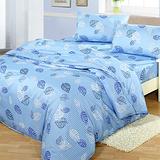 台灣製【飄飄葉語-藍】雙人六件式天絲絨鋪棉兩用被床罩組