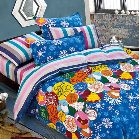 FOCA《叮噹時節》特大100%精梳棉四件式舖棉兩用被床包組