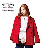 【FANTINO】 時尚女性紐扣羊毛外套 (紅) 485112
