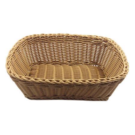 【收納職人】鄉村風收納裝飾編織置物籃PP藤編籃(角型駝色)