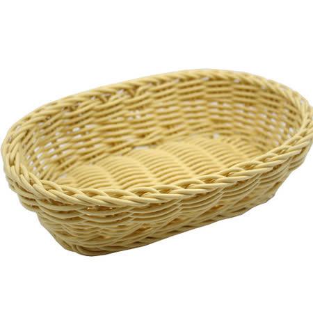 【收納職人】鄉村風收納裝飾編織置物籃PP藤編籃(橢圓M米黃)