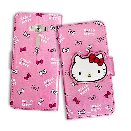 三麗鷗授權 Hello Kitty 凱蒂貓 ASUS ZenFone 3 Deluxe 5.7吋 ZS570KL 閃粉絲紋彩繪皮套(蝴蝶結粉)