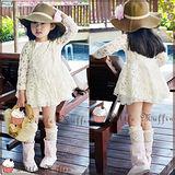 韓組 古典蕾絲層層雪紡可愛防曬薄長袖小洋裝 100~140