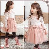韓 珍珠裝飾蕾絲娃娃領蓬裙連身裙洋裝