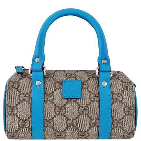GUCCI 藍色雙G緹花PVC小型波士頓包