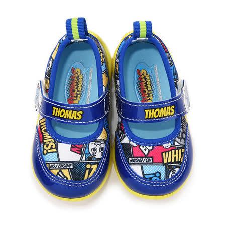 童鞋城堡-湯瑪士 中童 漫畫風魔鬼氈休閒鞋TH86040-藍
